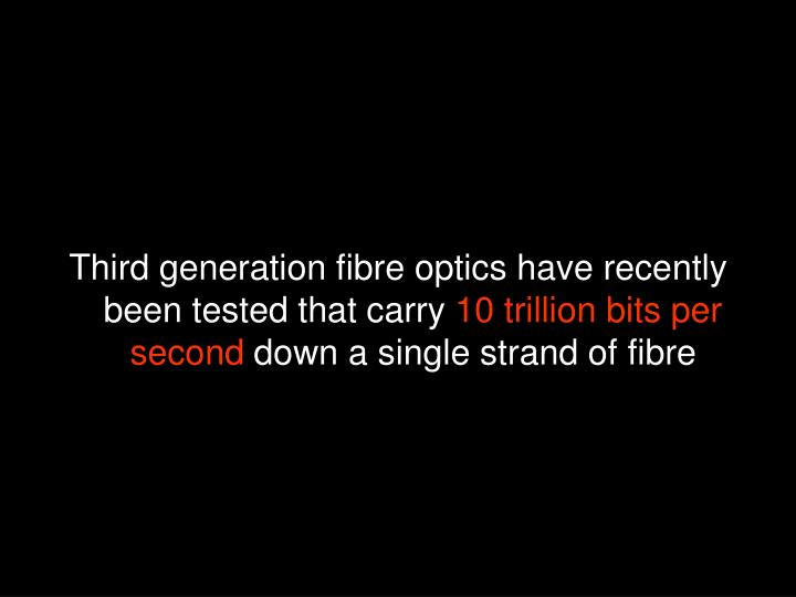 Third generation fibre optics have recently been tested that carry