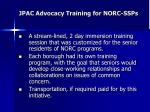 jpac advocacy training for norc ssps
