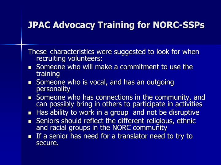JPAC Advocacy Training for NORC-SSPs