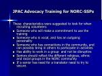 jpac advocacy training for norc ssps3