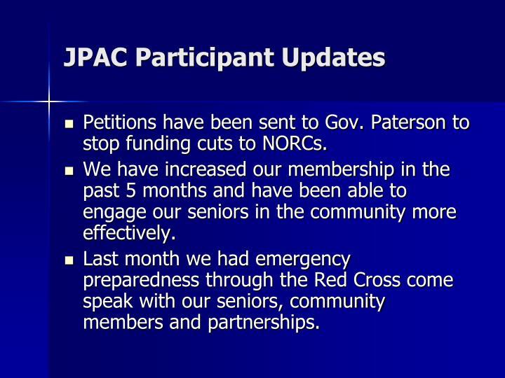 JPAC Participant Updates