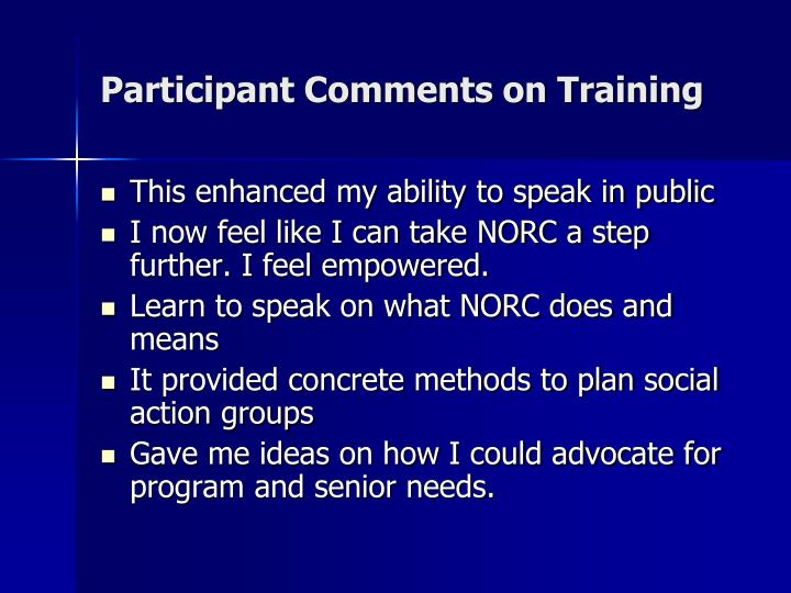 Participant Comments on Training
