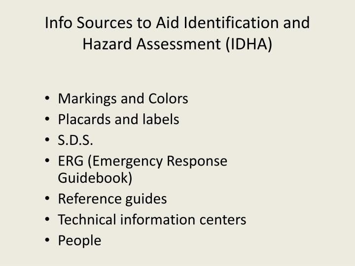 Info Sources to Aid Identification and Hazard Assessment (IDHA)