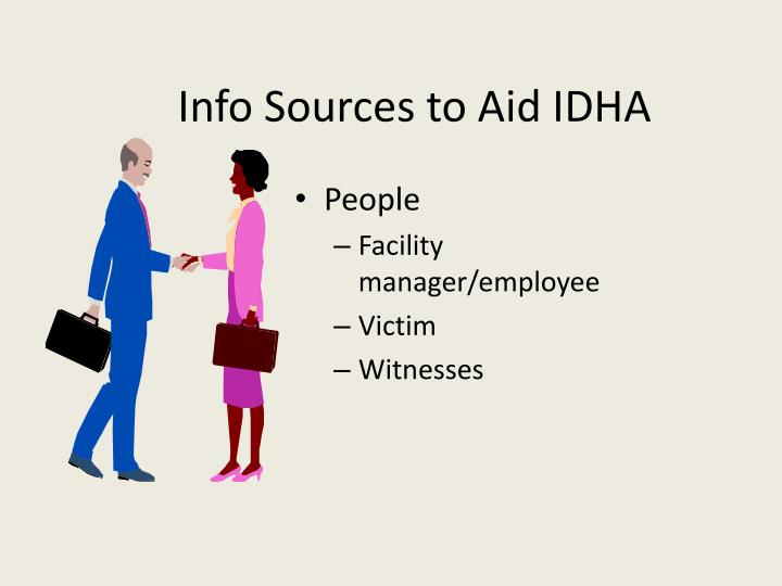 Info Sources to Aid IDHA