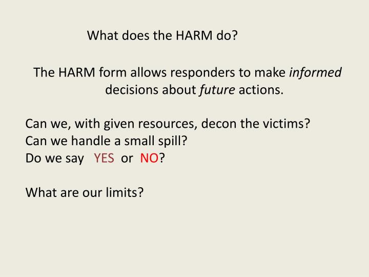 What does the HARM do?