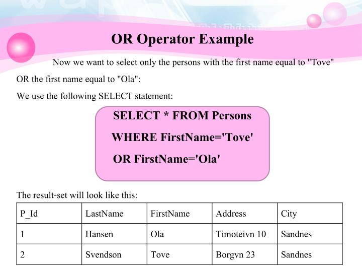 OR Operator Example