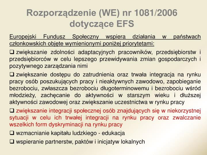 Rozporządzenie (WE) nr1081/2006 dotyczące EFS