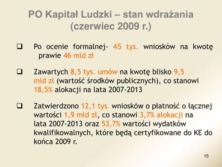PO Kapitał Ludzki – stan wdrażania               (czerwiec 2009 r.)