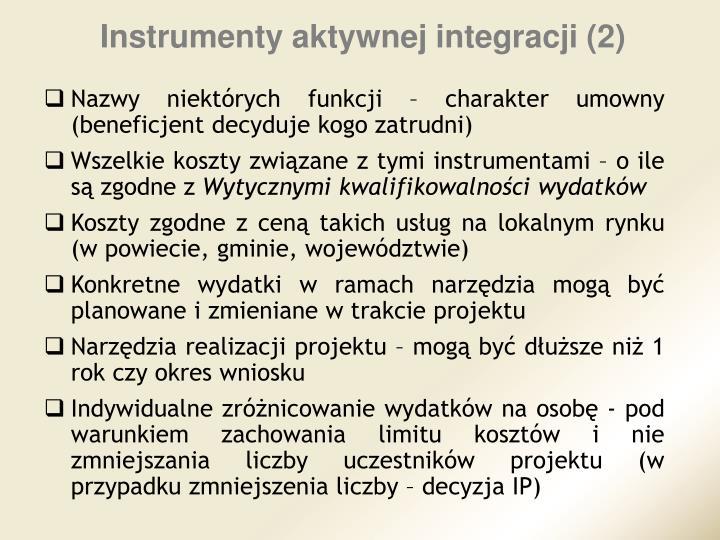 Instrumenty aktywnej integracji (2)
