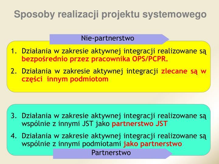 Sposoby realizacji projektu systemowego