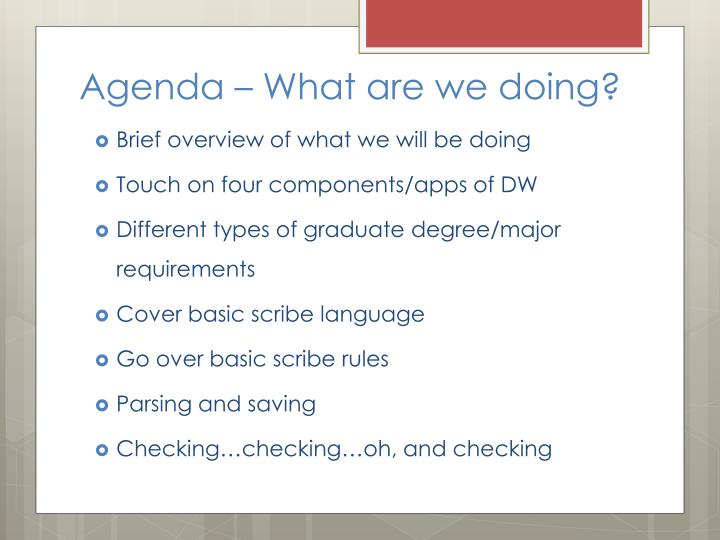 Agenda – What are we doing?