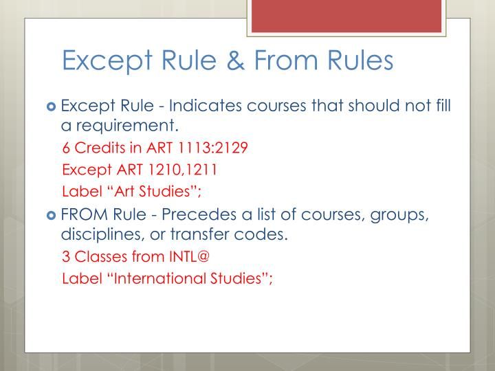 Except Rule & From Rules