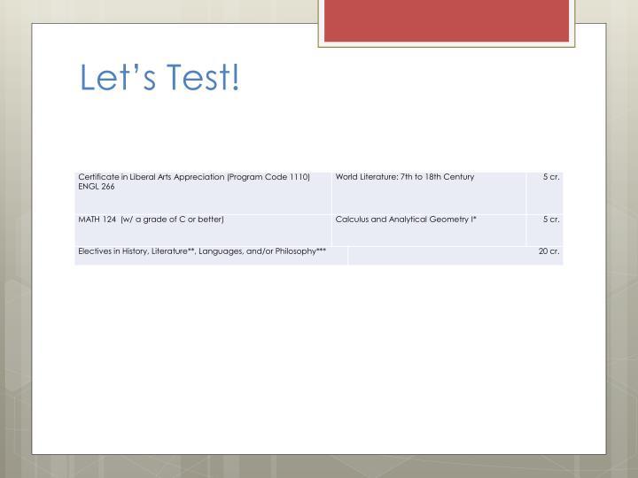 Let's Test!