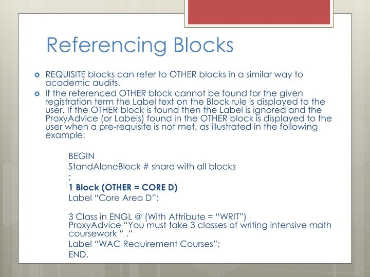 Referencing Blocks