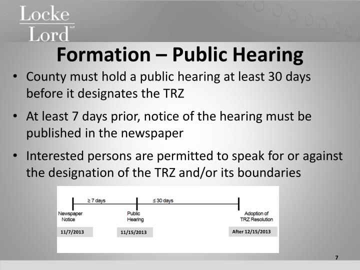 Formation – Public Hearing