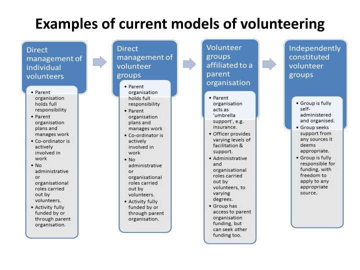 Examples of current models of volunteering