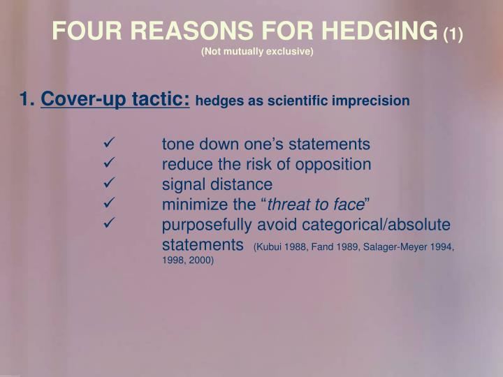 FOUR REASONS FOR HEDGING