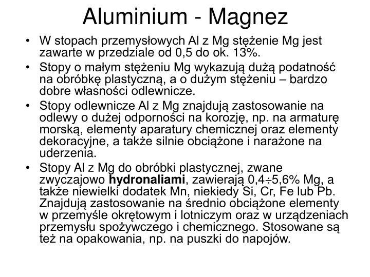 Aluminium - Magnez