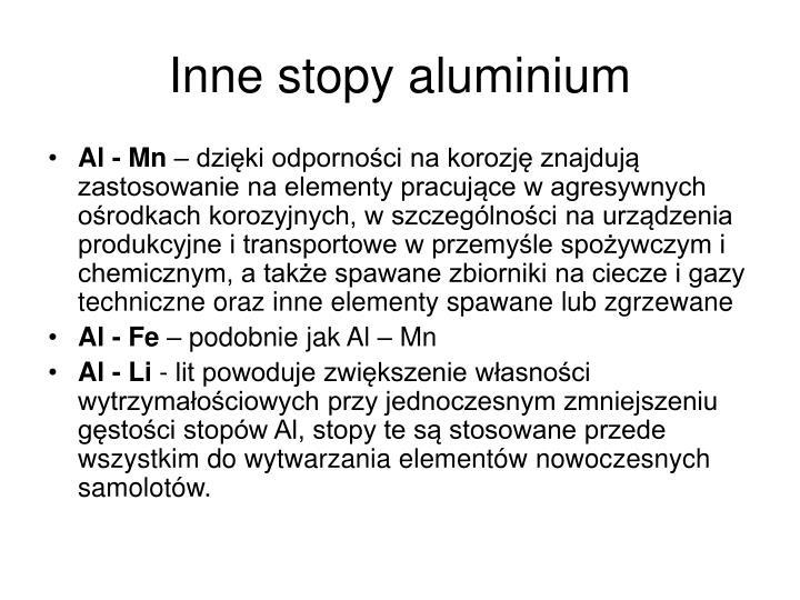 Inne stopy aluminium