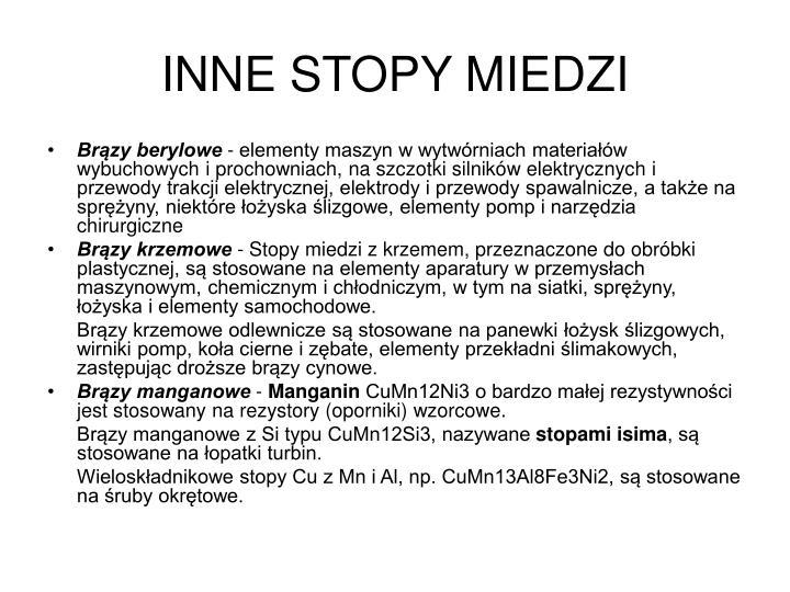 INNE STOPY MIEDZI