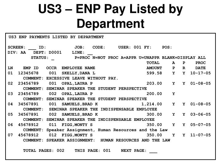 US3 – ENP Pay Listed by Department