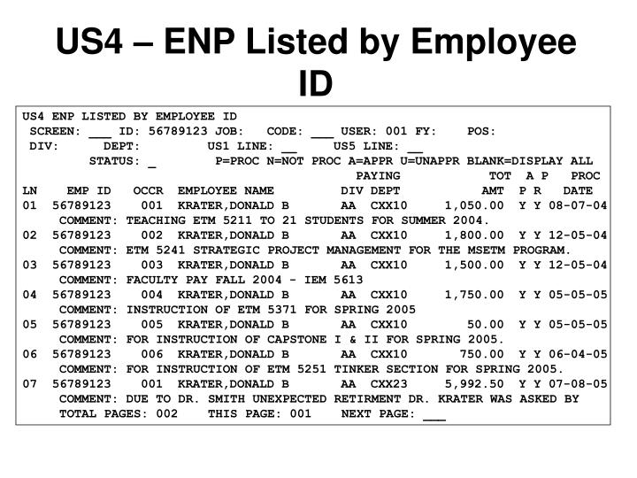 US4 – ENP Listed by Employee ID