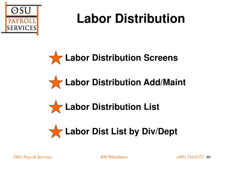 Labor Distribution Screens