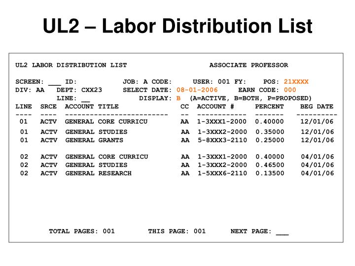 UL2 LABOR DISTRIBUTION LIST                    ASSOCIATE PROFESSOR
