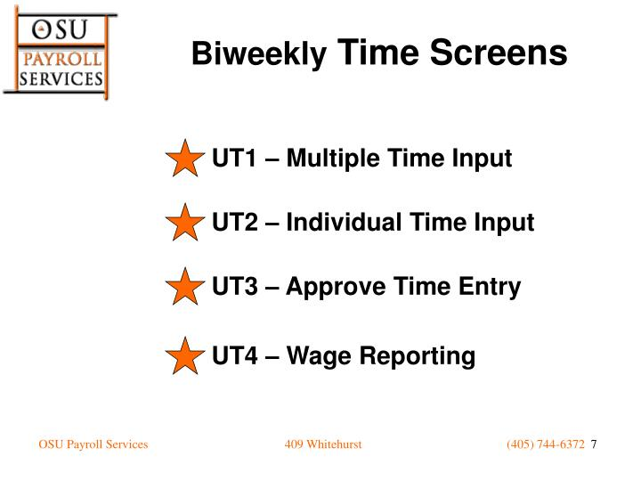 UT1 – Multiple Time Input