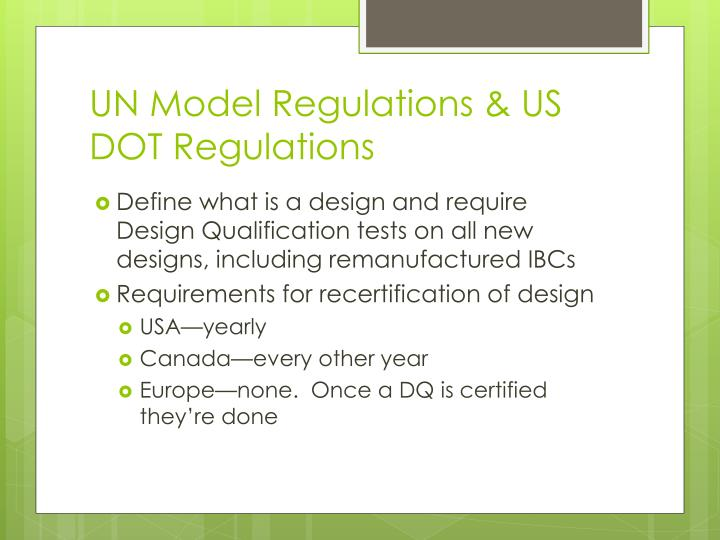 UN Model Regulations & US DOT Regulations