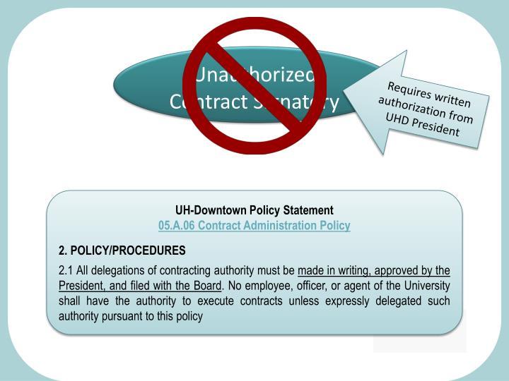 Unauthorized Contract Signatory