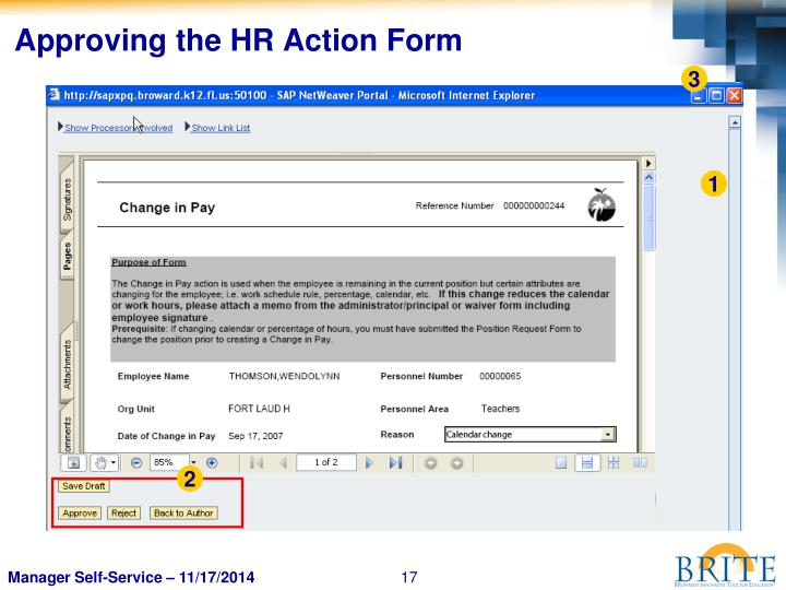 Approving the HR Action Form
