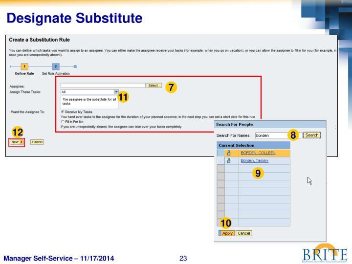 Designate Substitute