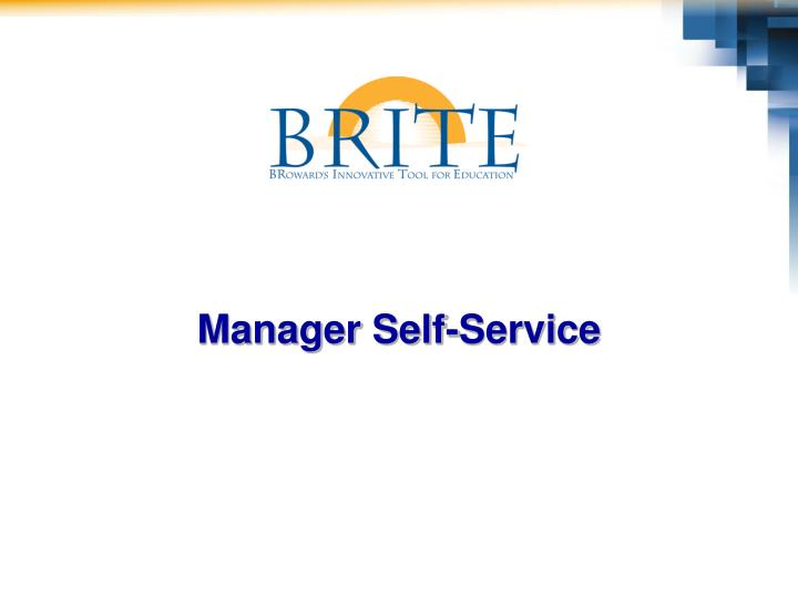 Manager Self-Service