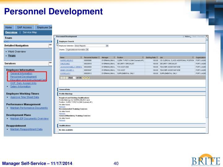 Personnel Development