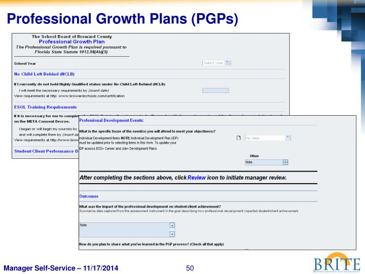 Professional Growth Plans (PGPs)
