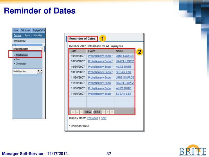 Reminder of Dates
