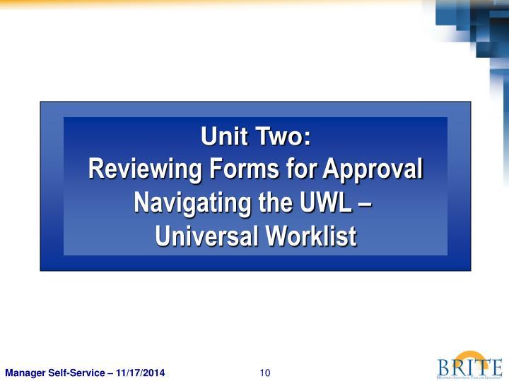 Unit Two: