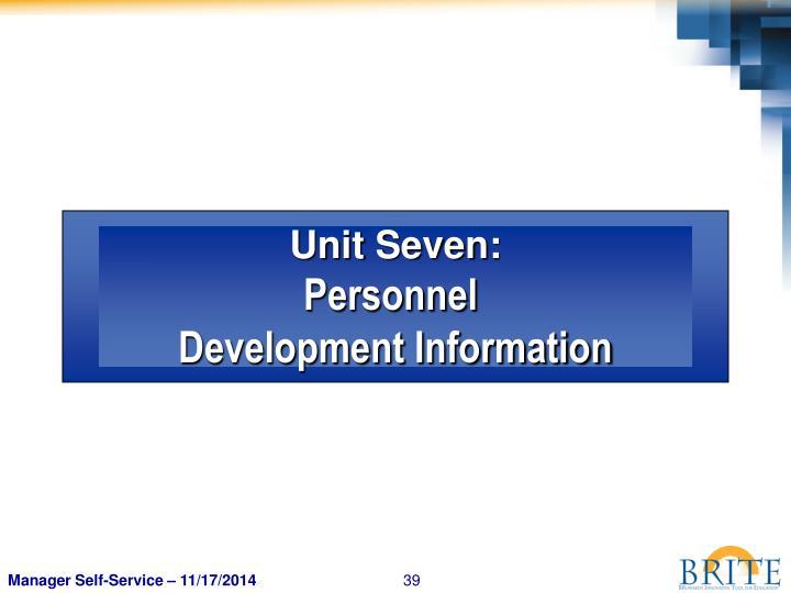 Unit Seven: