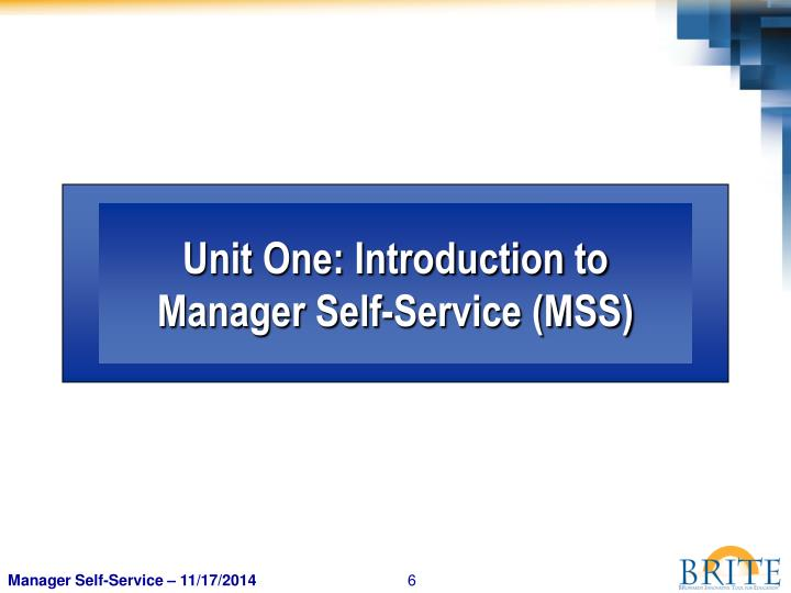 Unit One: Introduction to