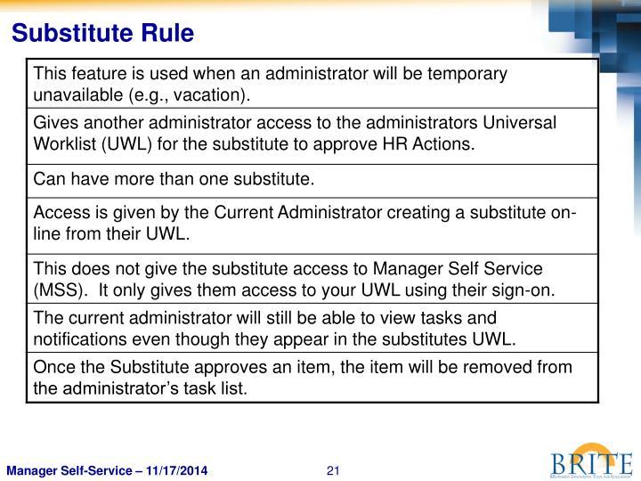 Substitute Rule