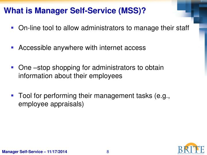 What is Manager Self-Service (MSS)?