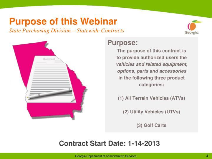 Purpose of this Webinar