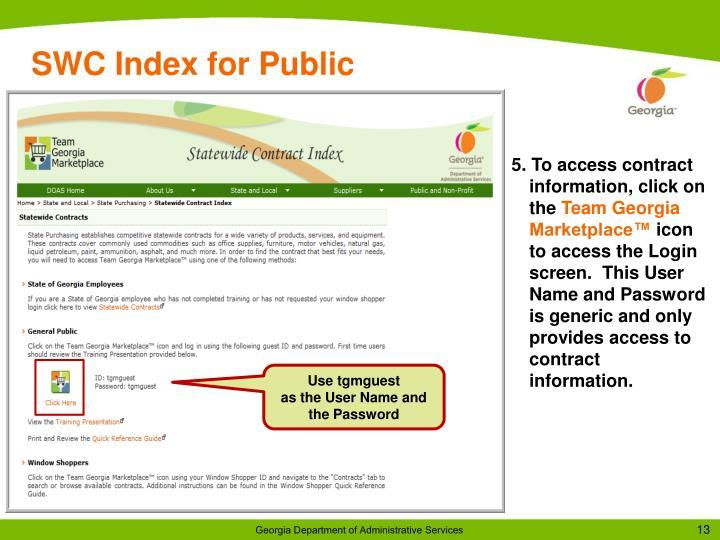 SWC Index for Public