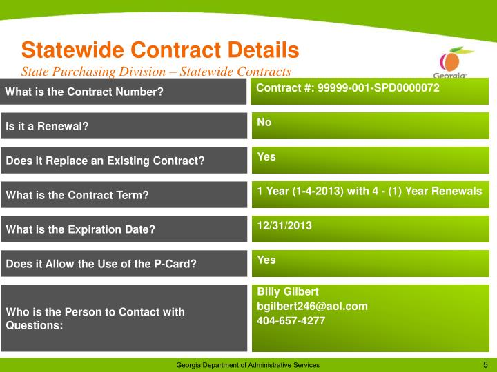 Statewide Contract Details