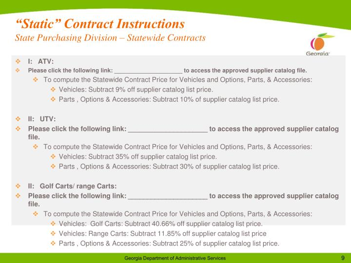 """""""Static"""" Contract Instructions"""