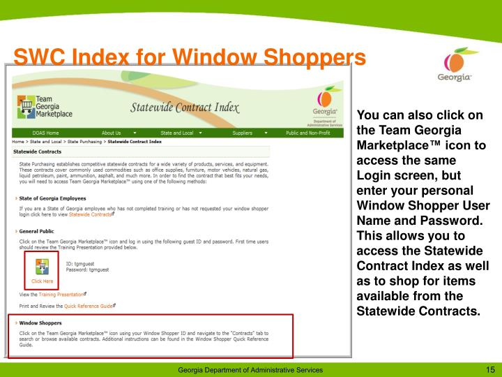 SWC Index for Window Shoppers
