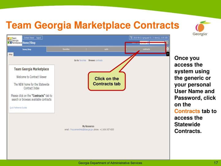 Team Georgia Marketplace Contracts