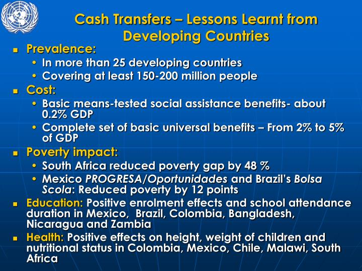 Cash Transfers – Lessons Learnt from Developing Countries