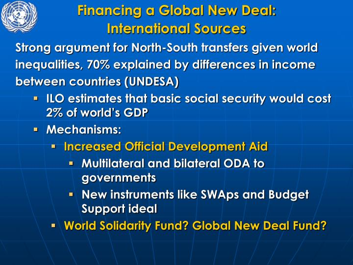 Financing a Global New Deal: